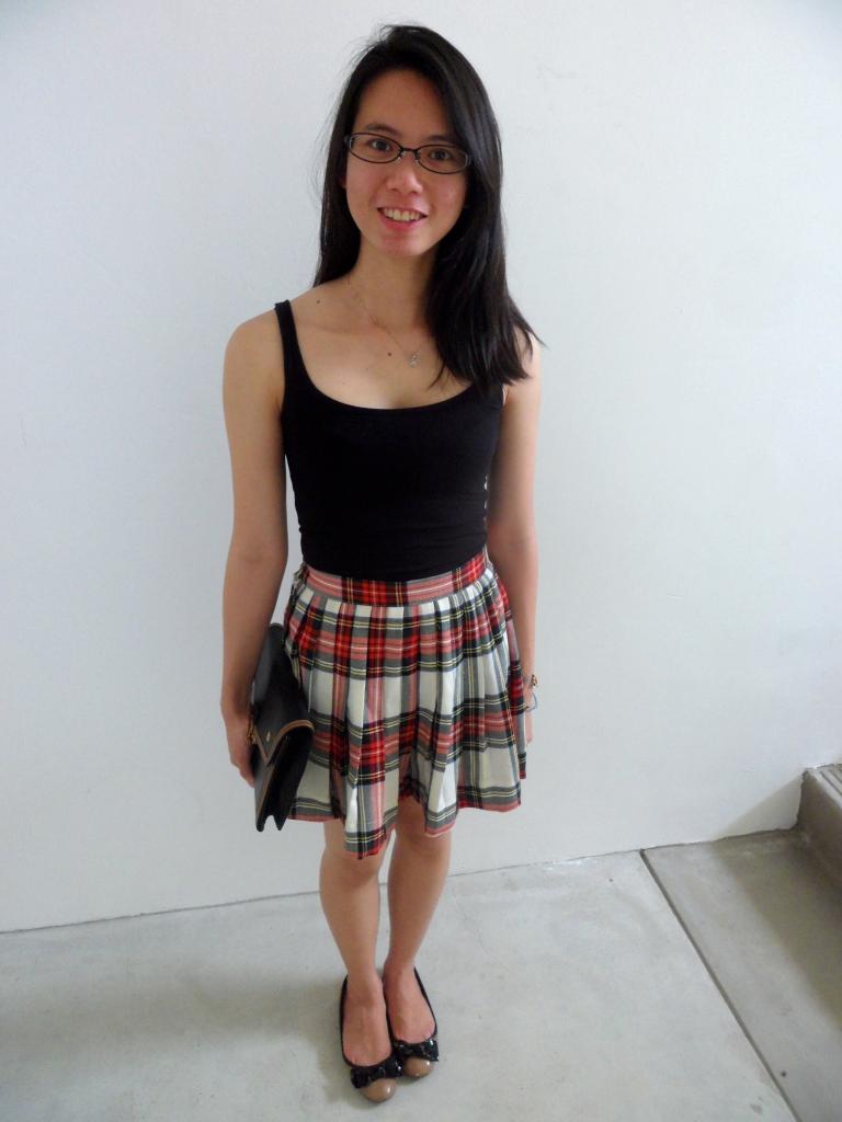 Checkered plaid skirt