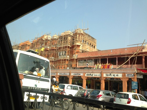 Building being constructed on the streets of Jaipur